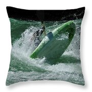 Working The Rapids Throw Pillow