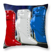 World Domination In Red White And Blue Boots Throw Pillow
