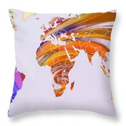 World Map Abstract Painted Throw Pillow