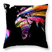 World Map Abstract Painting 2 Throw Pillow
