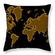 World Map Gold Throw Pillow