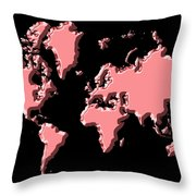World Map Pink Throw Pillow