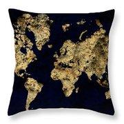 World Map Rock Throw Pillow