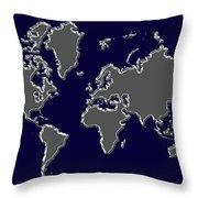 World Map Silver Throw Pillow