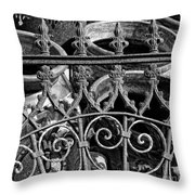 Wrought Iron Gate And Pots Black And White Throw Pillow