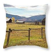 Wyoing Barns Throw Pillow
