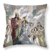 Xerxes I & Esther Throw Pillow