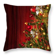Xmas Tree On Red Throw Pillow