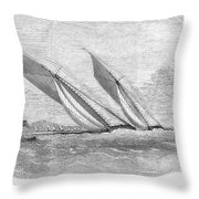 Yacht Race, 1854 Throw Pillow