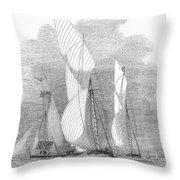 Yacht Race, 1855 Throw Pillow