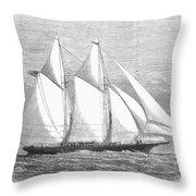 Yacht: Sappho, 1868 Throw Pillow