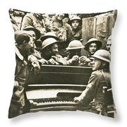 Yankee Soldiers Around A Piano Throw Pillow by Photo Researchers