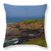 Yaquina Head Lighthouse And Bay - Posterized Throw Pillow