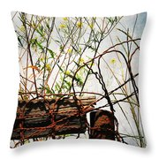 Yard Of The Hippies  Throw Pillow