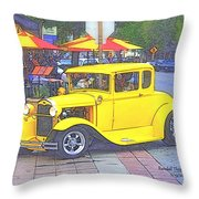 Yellow 1930's Ford Roadster Throw Pillow
