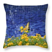 Yellow Against Blue Throw Pillow