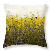 Yellow And Blue Wildflowers Throw Pillow by Kim Fearheiley
