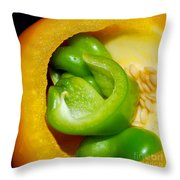 Yellow And Green Nested Pepper Throw Pillow