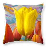 Yellow And Orange Tulips Throw Pillow
