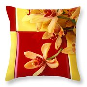 Yellow And Red Orchids  Throw Pillow