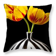 Yellow And Red Tulips Throw Pillow