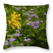 Yellow And Violet Flowers Throw Pillow