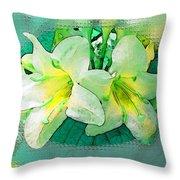 Yellow Aqua Weigela Art Throw Pillow