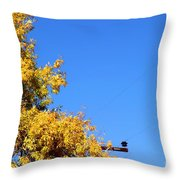 Yellow Autumn Tree Throw Pillow
