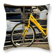 Yellow Bicycle Throw Pillow