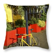 Yellow Bicycle Vancouver Canada Throw Pillow