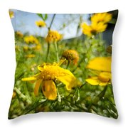 Yellow Blooming Wildflowers Throw Pillow
