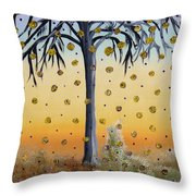 Yellow-blossomed Wishing Tree Throw Pillow