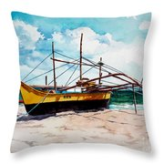 Yellow Boat Docking On The Shore Throw Pillow