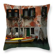 Yellow Boat Venice Italy Throw Pillow