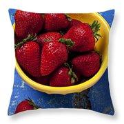 Yellow Bowl Of Strawberries Throw Pillow