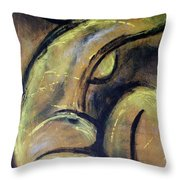 Yellow Caryatid - Nudes Gallery Throw Pillow