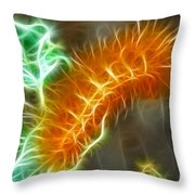 Yellow Caterpillar Fractal Throw Pillow