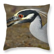Yellow Crowned Night Heron With Catch Throw Pillow
