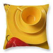 Yellow Cup And Plate Throw Pillow by Garry Gay