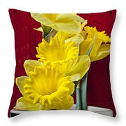 Yellow Daffodils In Checkered Vase Throw Pillow
