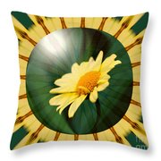Yellow Daisy Energy Throw Pillow
