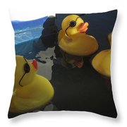 Yellow Rubber Duckies  Throw Pillow