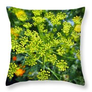 Yellow Firework Or Dill In Its Glory Throw Pillow