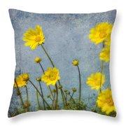 Yellow Flower Blossoms Throw Pillow