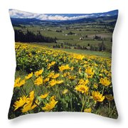 Yellow Flowers Blooming, Hood River Throw Pillow