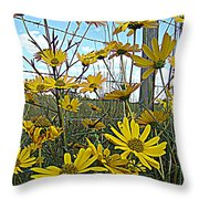 Yellow Flowers By The Roadside Throw Pillow