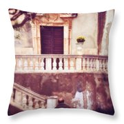 Yellow Flowers In A Vase In Taormina Sicily Throw Pillow