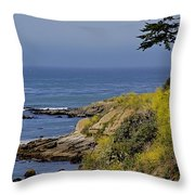 Yellow Flowers On The Central California Coast Throw Pillow