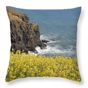 Yellow Flowers On The Northern California Coast Throw Pillow