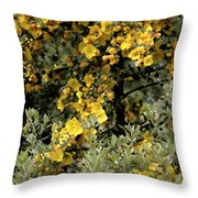 Yellow Flowers On Tree Throw Pillow